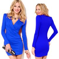 2015 Autumn Spring Fashion Women Dresses Long Sleeve V neck Mini Vestidos Slim Bodycon Party Casual Dresses