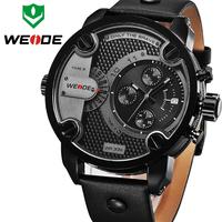 2015 Unique Design Oversized Men Watch Fashion WEIDE Brand 3 Small Dial Decoration Quartz Waterproof Clock Leather Strap Watches