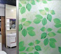 No glue static cling polish green leaf classic color window glass film sticker bathroom office kitchen window width60/45cm*100cm