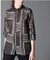 2015 Spring Blusas Ladies' Royal  Totem Print Vintage Casual Blouses Women Shirts Long Sleeve Turn Down Collar Retro Brand Tops