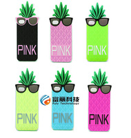 Fashion Pink Silicone Pineapple Fruit Cover Case for iphone 6 6G iphone6,50pcs/lot