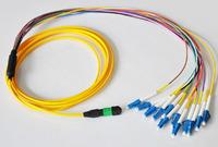 Factory Direct 12 core MPO-LC 9/125 singlemode gigabit fiber jumper 1 m
