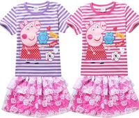 2015 Summer Peppa Pig Baby Girls Clothing Set Striped T shirt +Rose Tutu Skirt  Roupas Infantil Meninas Baby Girls Clothing Sets