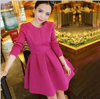 Korean version of the new autumn and winter proxy round neck long-sleeved waist princess tutu dress