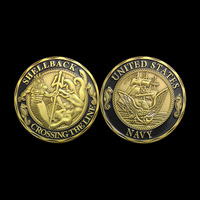 US Army Newest coins 40*3mm Shellback replica coins ,  Crossing the line challenge coin 5pieces/lot