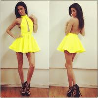 2015 Vestidos De Festa Women Sexy Night Club Party Dress Backless Bandage Mini Dress Yellow Green
