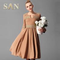 women vintage style  embroidery woolen long dresses elegant lace plus size xl xxl xxxl 3xl long dress thick wool winter dresses