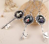 1 Pcs gorjuss illustration Key Statement necklace metal jane sweater chain Necklaces & Pandents 24 styles Girls
