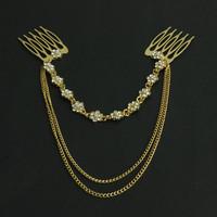 Fashion Punk Hair Cuff Pin Clip 2 Combs Tassels Chains Head Band Hair Combs Silver/Gold Free