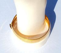 SOLID 9K GOLD GF Open WIDE SOFT prevent press BRACELET Mens WOMENS bangle luxury