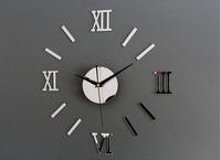 Creative Roman Digital Wall Clock 3D DIY Mirror Stickers Wall Clocks Golden Silver Silent Clocks Wall Art Modern Design