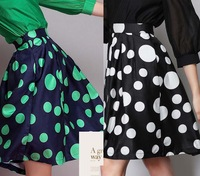 Free shipping 2015 Hepburn Green Black Polka Dot Print Pleated  Knee Length  Ball Gown Midi Swing Skirt