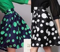 Free shipping 2015 Hepburn Green Black Polka Dot Print Pleated  Knee Length  Ball Gown Midi Swing Skirt