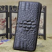 2015 New Alligator Pure cowhide Wallet Long style Vintage Design Clutch bag Card Holder Men's Genuine Leather Wallet