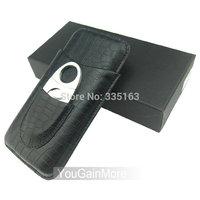 Cohiba Black Leather 3 Tube Cigar Holder Case Cutter Set Crocodile Pattern