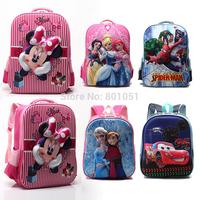 2015 hot 3D cartoon children school bags lightning car princess hero students kindergarten travel bag kid backpack bolsa escola