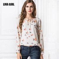 Spring and summer bird print women blouses size S-XL Long sleeve shirt