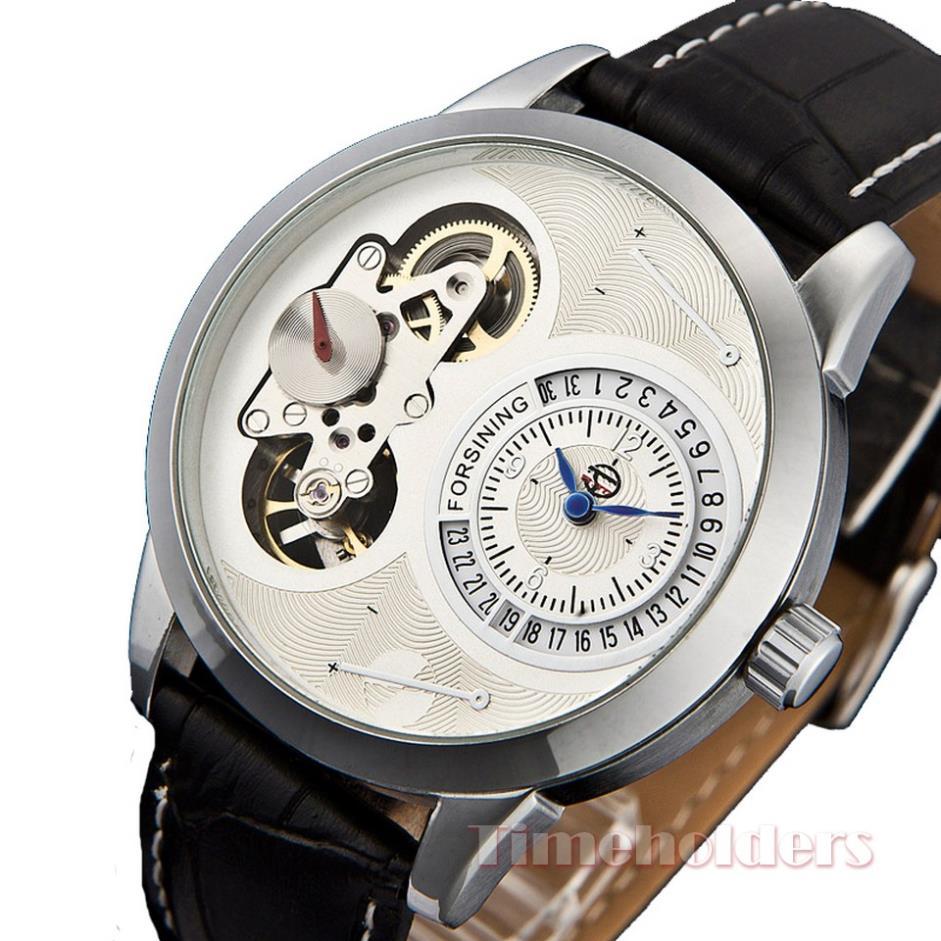 Steampunk skeleton watch womens automatic mechanical luxury diamond jewelry leather bracelet unique