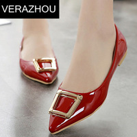 Spring 2015 Flat shoes women Square buckle Tip Brand Platform Spring Summer Casual Fashion Closed toe Shoes vintage women