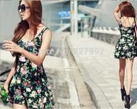 European Style Women Casual Fashion New Floral Print O-neck Sleeveless Mini Tank Dress