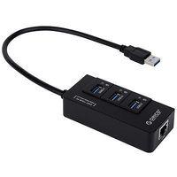 AB0046 ORICO HR01-U3 Portable 3 Port USB 3.0 HUB with 1 RJ45 10/100/1000 Gigabit Ethernet LAN Network Adapter Black + Freepost