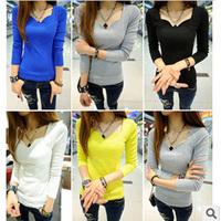 Casual 2015 Spring Women Cotton Shirts Long Sleeve Tops 4 Color Slim Fashion T-Shirts All-Match Base Shirts CGT5113