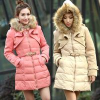 new Winter Coat Women 2015 Fashion women's white duak down parkas thick slim casual outwear jackets with fur vestidos