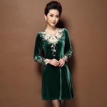 Spring Winter New Heavy Embroidery V-Neck Dress Velvet Plus Size Women's Clothing Long Sleeve Casual Dress