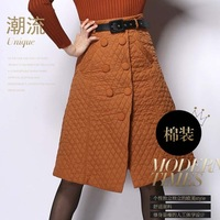 Free shipping 2015 Retro Hepburn Warm Cotton Padded Winter Skirt Bow Pleated Ball Gown Swing Skirt