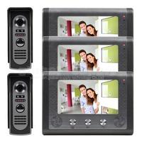DIY 3 Monitor 2 Cameras 7 inch Wired Video Door Phone Door Bell System Home Security Entry 2 Way Intercom IR Cameras SY801M23