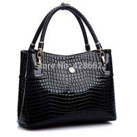 NEW 2015 Fashion Luxury Top Crocodile Grain Patent Leather Women Handbag Ladies Hight Art Women Shoulder Bag Messenger Bag