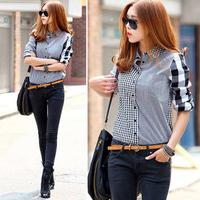 New 2015 Women blouses Plaid Blouse Casual Lapel Shirt Colorful Long Sleeve Cotton blouses shirts Women clothing XXL