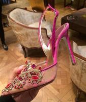 Free shipping women pumps 2015 luxury rhinestone rose powder lace inlaying jewelry high heels sandals single shoes lx2356