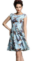 Free Shipping 2015 Girls Summer sweet princess slim waist pleated expansion leaves print chiffon one-piece dresses