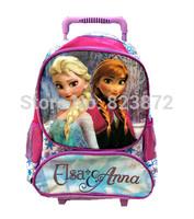Original Elsa Anna School Backpack Wheels Wheeled Children School Bags for Girls Trolley Bag Rolling Backpacks Mochila Infantil