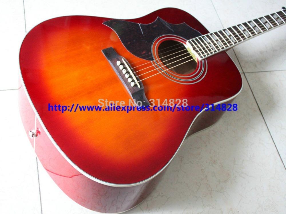 Left Handed Cherry Burst Acoustic Guitar Hummingbird guitars New Arrival Wholesale(China (Mainland))