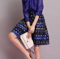 New Spring Summer 2015 Fashion Woman Ladies Saias Femininas Longa Ball Gown Maxi Skirt female Print Women Midi Skirt