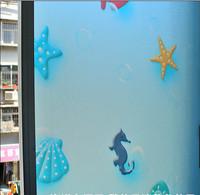 No glue static cling polish starfish sea horse classic color window glass film sticker bathroom office kitchen window 60*100cm