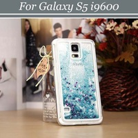 50pcs/lot Free Shipping Crystal Clear Meteor Sand Hard Back Case Cover for Samsung Galaxy S5 i9600