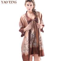 2015 autumn sexy noble home Pajama faux twinset silk sleepwear