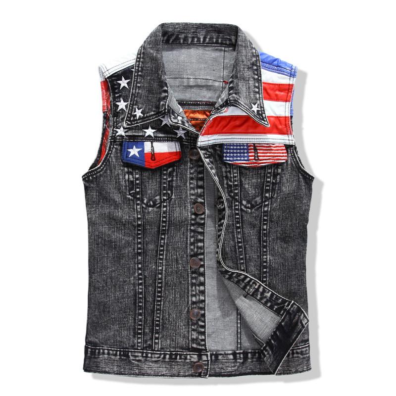 Free shipping ! New 2015 fashion male grey star denim vest men's flag water wash patchwork denim vest male casual denim vest(China (Mainland))