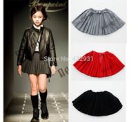 2015 children skirts Kids Wool Pleated Skirt girls children solid skirts 3-8 years Black Gray Red saia infantil kids skirts