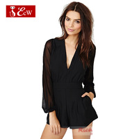 ECW NEW 2015 Spring Women Siamese Trousers Women Jumpsuit Translucence Net Splice Sexy jumpsuit V-Neck High Waist Women Clothing
