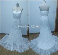 New arrival sexy high-grade ivory lace mermaid wedding dress long section of the bride 2015  vestido de noiva renda