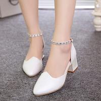 2015 hot sale spring women pumps  medium heel wedge shoes women sexy dress footwear fashion lady women shoes free shipping39