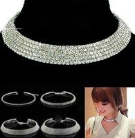 2015 Luxury Women New Crystal Rhinestone Collar Necklace Choker Necklaces Wedding Birthday Fashion Jewelry Accessories PNE2088