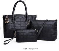 Fashion pu crocodile handbags women messenger bags tote shoulder women handbags leather bags three piece suit bag 2015 new