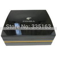 Cohiba Black Cedar Wood Cigar Humidor Set Cutter Ashtray Hygrometer Piano Finish