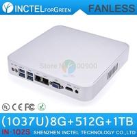 8G RAM 512G SSD 1TB HDD Fanless mini pc 1037u