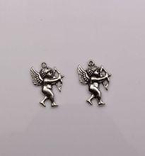 MIC 100pcs New Antique Silver Single sided design Cupid Charm pendants DIY Jewelry 15 x 21